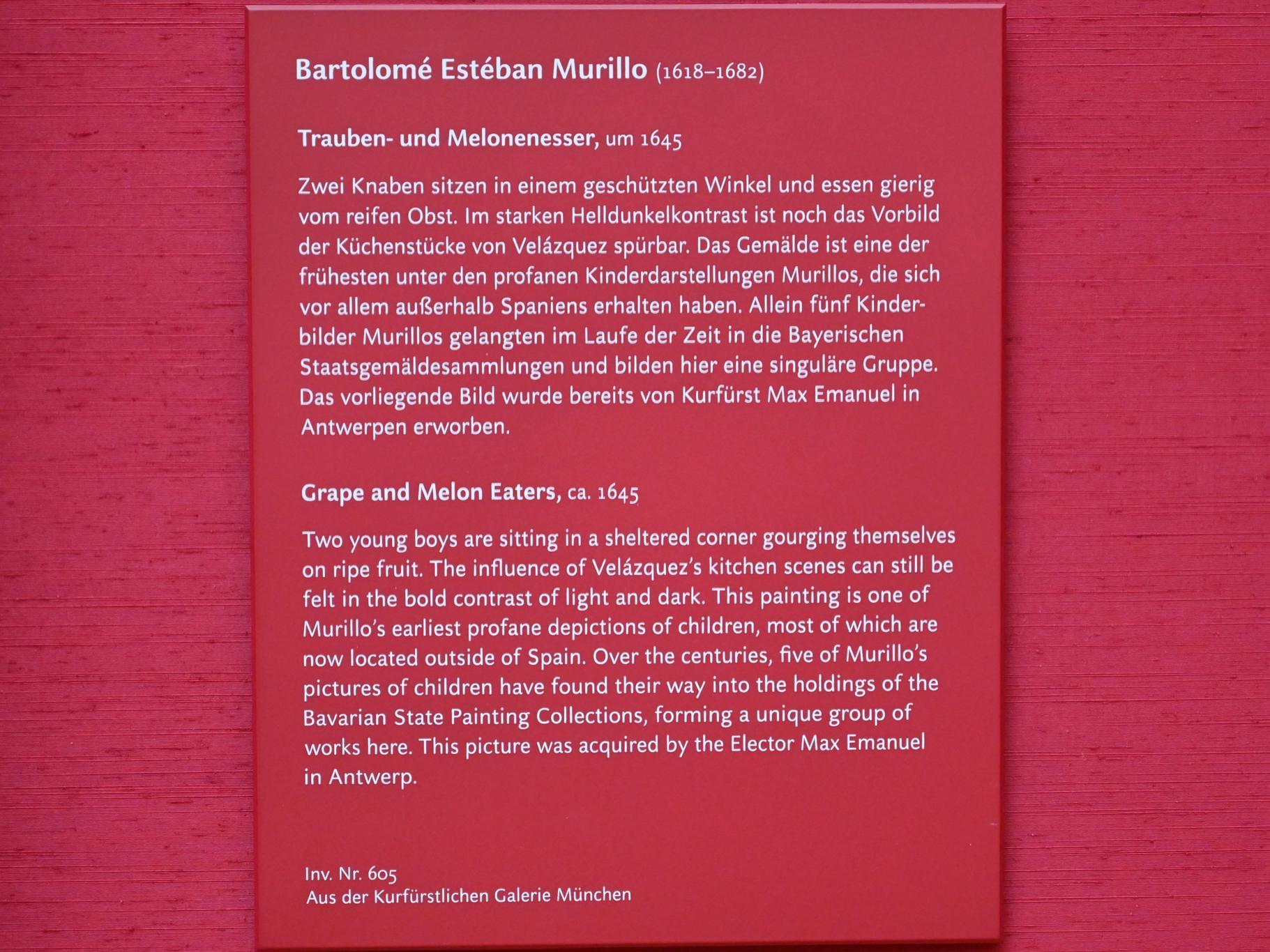 Bartolomé Esteban Murillo: Trauben- und Melonenesser, Um 1645