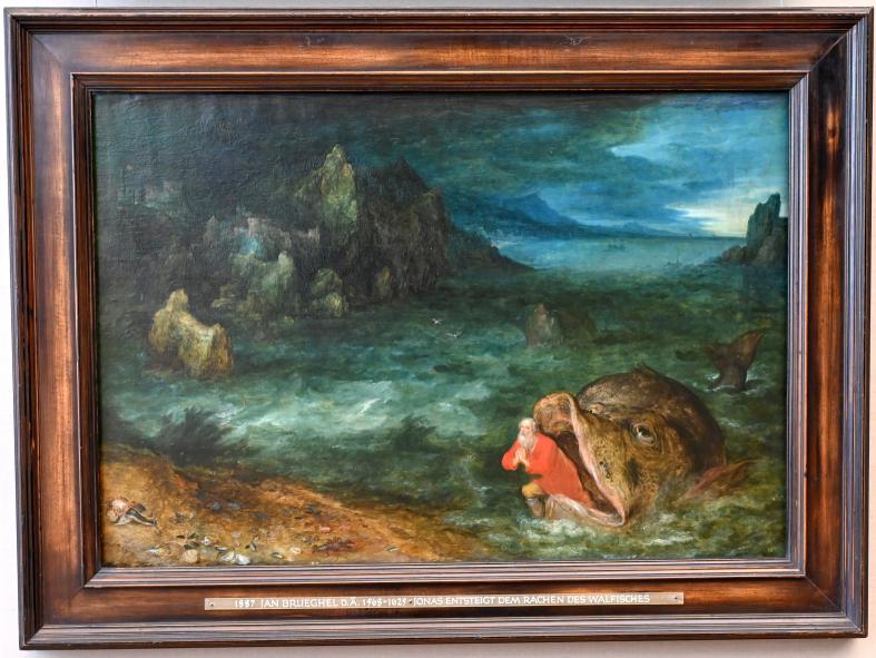 Jan Brueghel der Ältere (Blumenbrueghel): Jonas entsteigt dem Rachen des Walfisches, 1597 - 1598