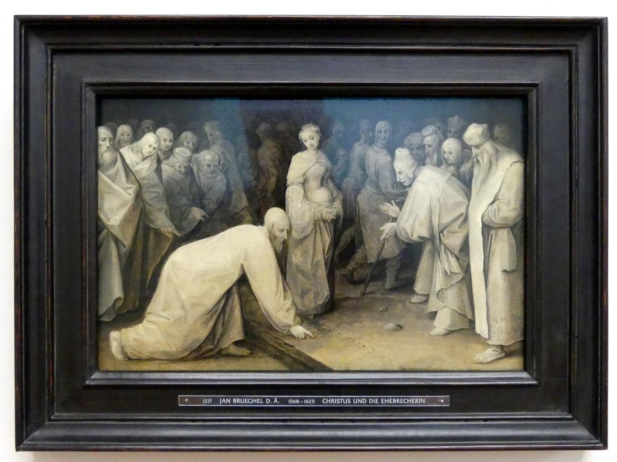 Jan Brueghel der Ältere (Blumenbrueghel): Christus und die Ehebrecherin, Um 1597 - 1598