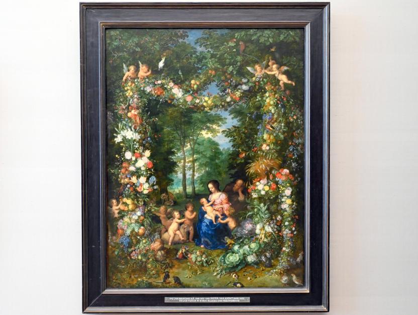 Jan Brueghel der Ältere (Blumenbrueghel): Heilige Familie in einem Blumen- und Früchtekranz, Um 1620 - 1623