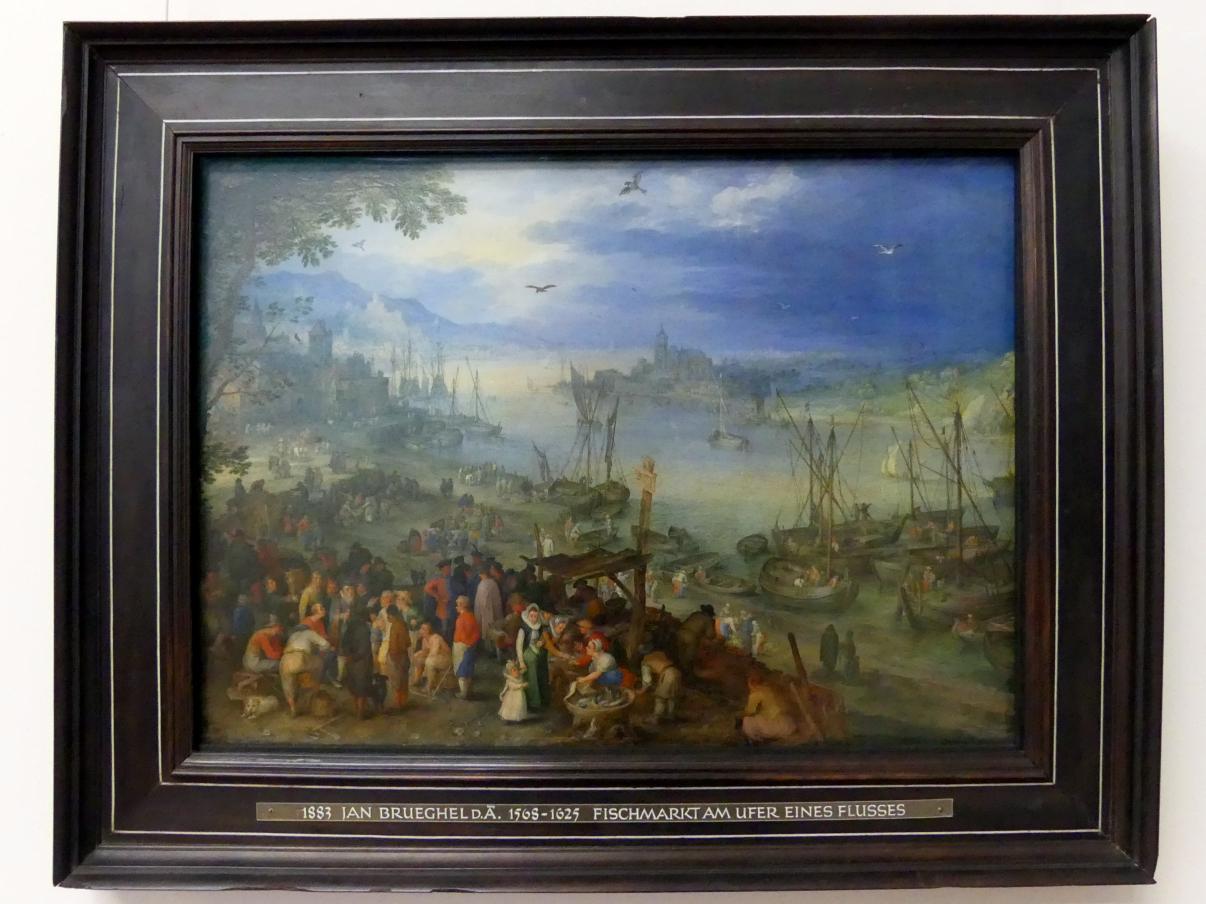 Jan Brueghel der Ältere (Blumenbrueghel): Fischmarkt am Ufer eines Flusses, 1605