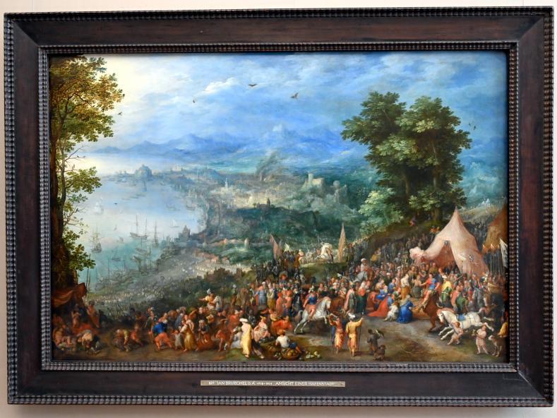 Jan Brueghel der Ältere (Blumenbrueghel): Ansicht einer Hafenstadt mit der Enthaltsamkeit des Scipio, 1600