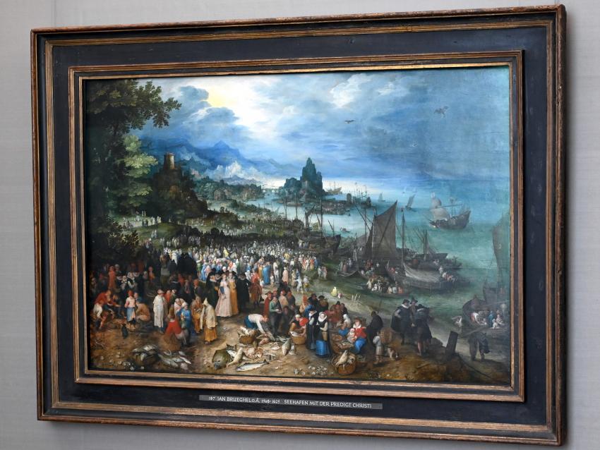 Jan Brueghel der Ältere (Blumenbrueghel): Seehafen mit der Predigt Christi, 1598