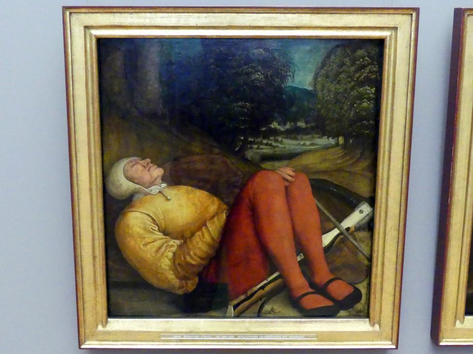 Bernhard Strigel: Schlafender Grabwächter mit Armbrust, um 1520 - 1521