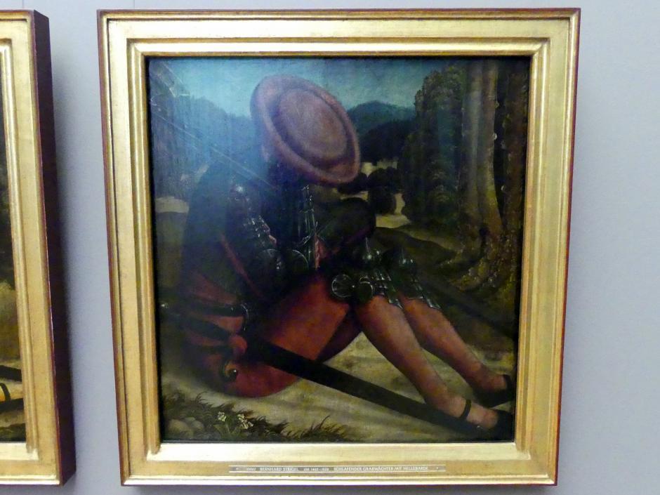 Bernhard Strigel: Schlafender Grabwächter mit Schwert und Hellebarde, um 1520 - 1521