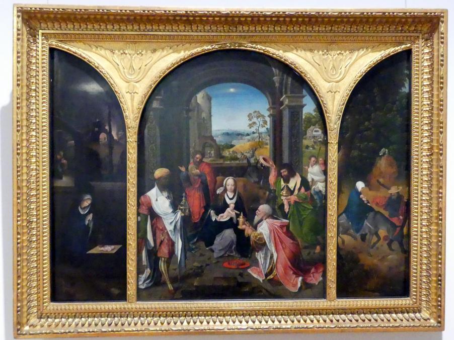 Jan de Beer (Kopie): Triptychon mit der Anbetung der Könige, der Flucht nach Ägypten und der Geburt Christi, Um 1510 - 1530
