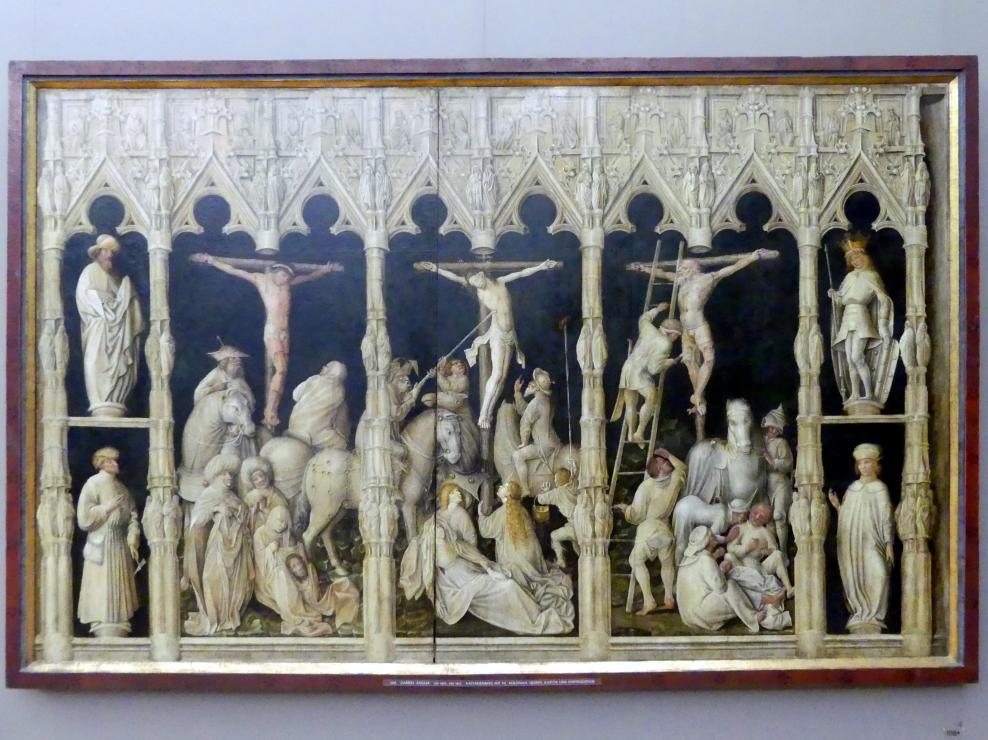 Gabriel Angler: Kalvarienberg mit den hll. Koloman, Quirin, Kastor und Chrysogonus, um 1440