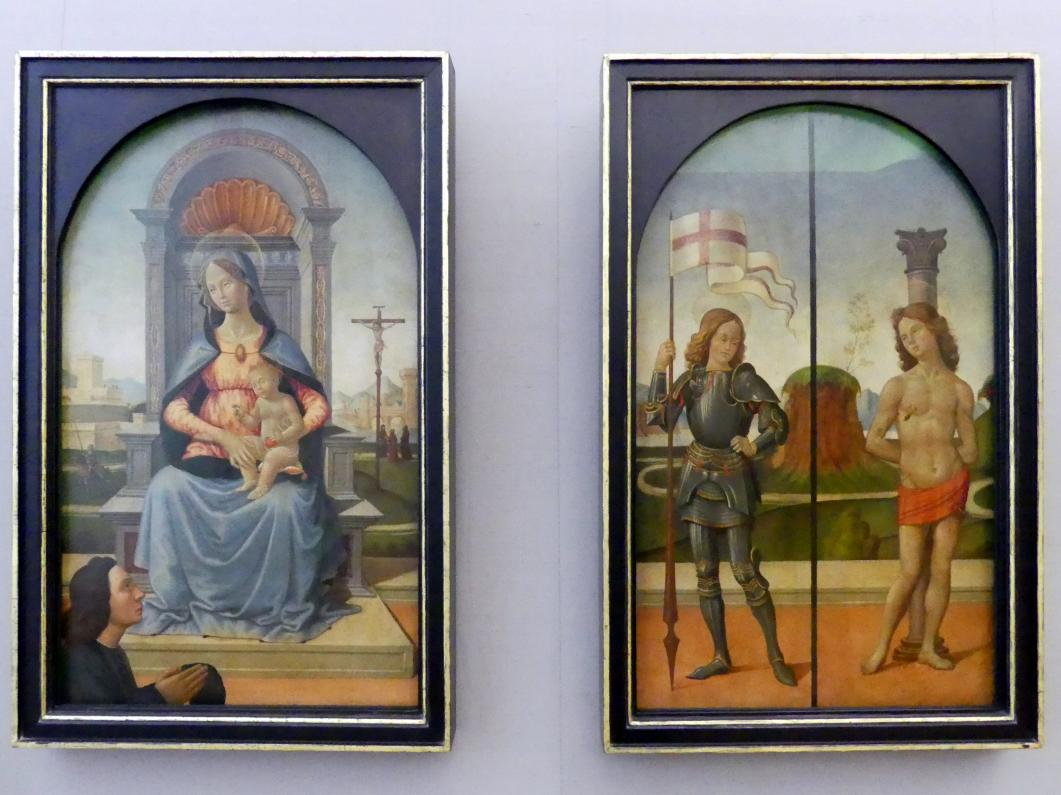 Domenico Ghirlandaio (Umkreis): Drei Tafeln eines Flügelaltars, Um 1495 - 1505