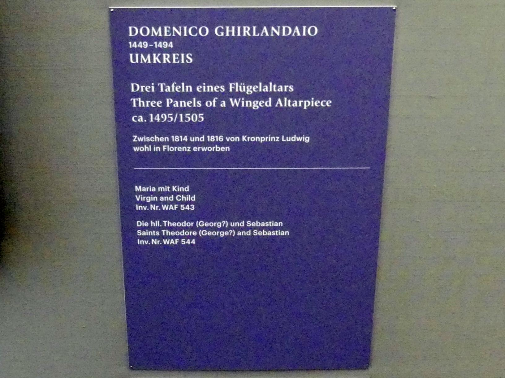 Domenico Ghirlandaio (Umkreis): Drei Tafeln eines Flügelaltars, um 1495 - 1505, Bild 2/3
