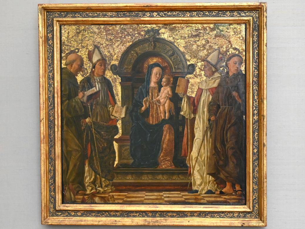 Thronende Maria mit Kind und vier Heiligen, Um 1480