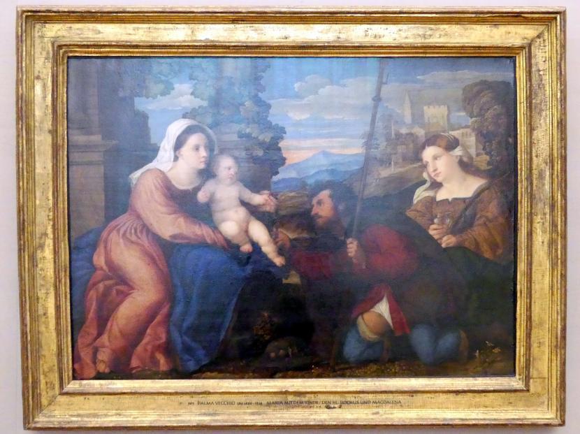 Jacopo Palma il Vecchio (Jacomo Nigretti de Lavalle): Maria mit Kind und den hll. Rochus und Aurea, um 1515