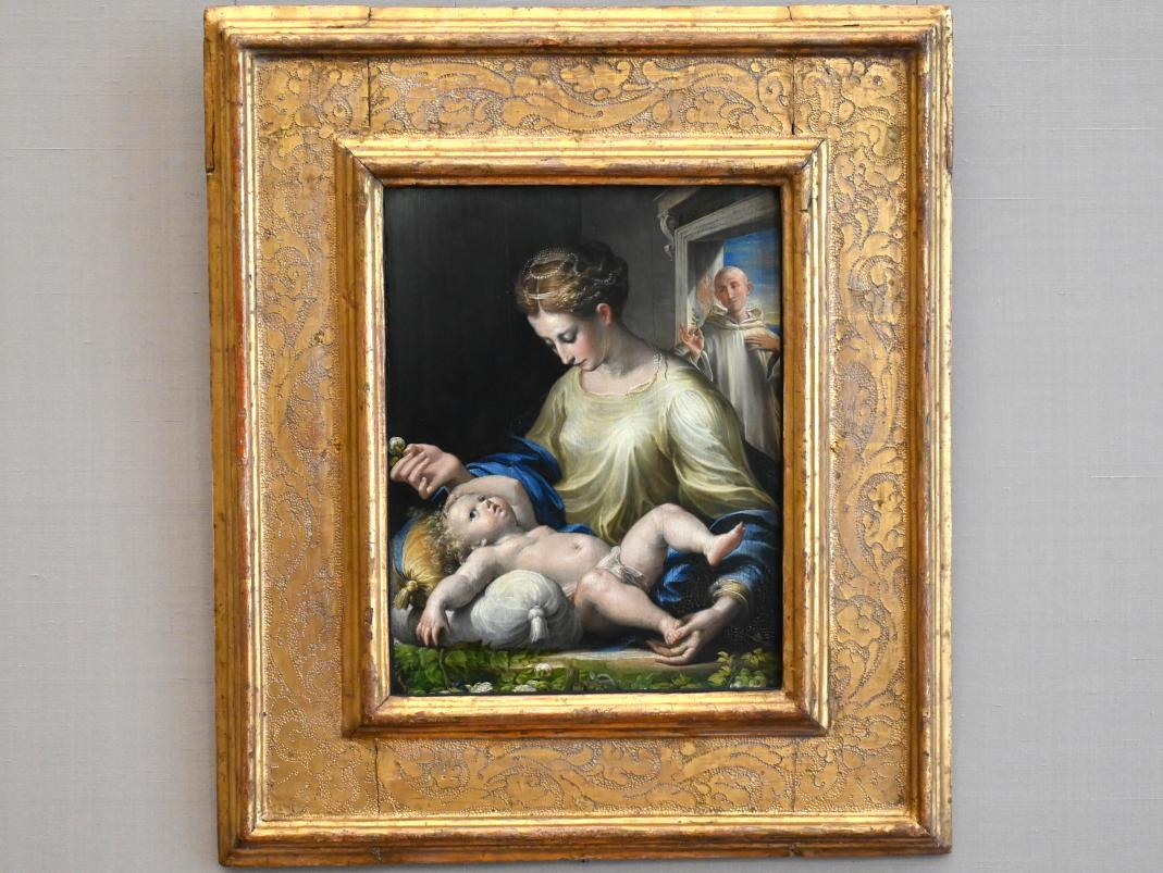 Parmigianino (Girolamo Francesco Maria Mazzola): Maria mit Kind und einem Mönch, Um 1530