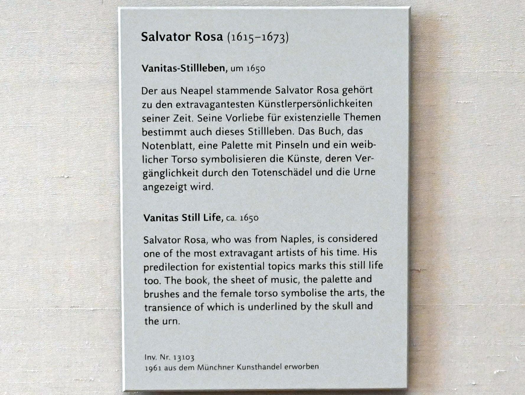 Salvator Rosa: Vanitas-Stillleben, Um 1650
