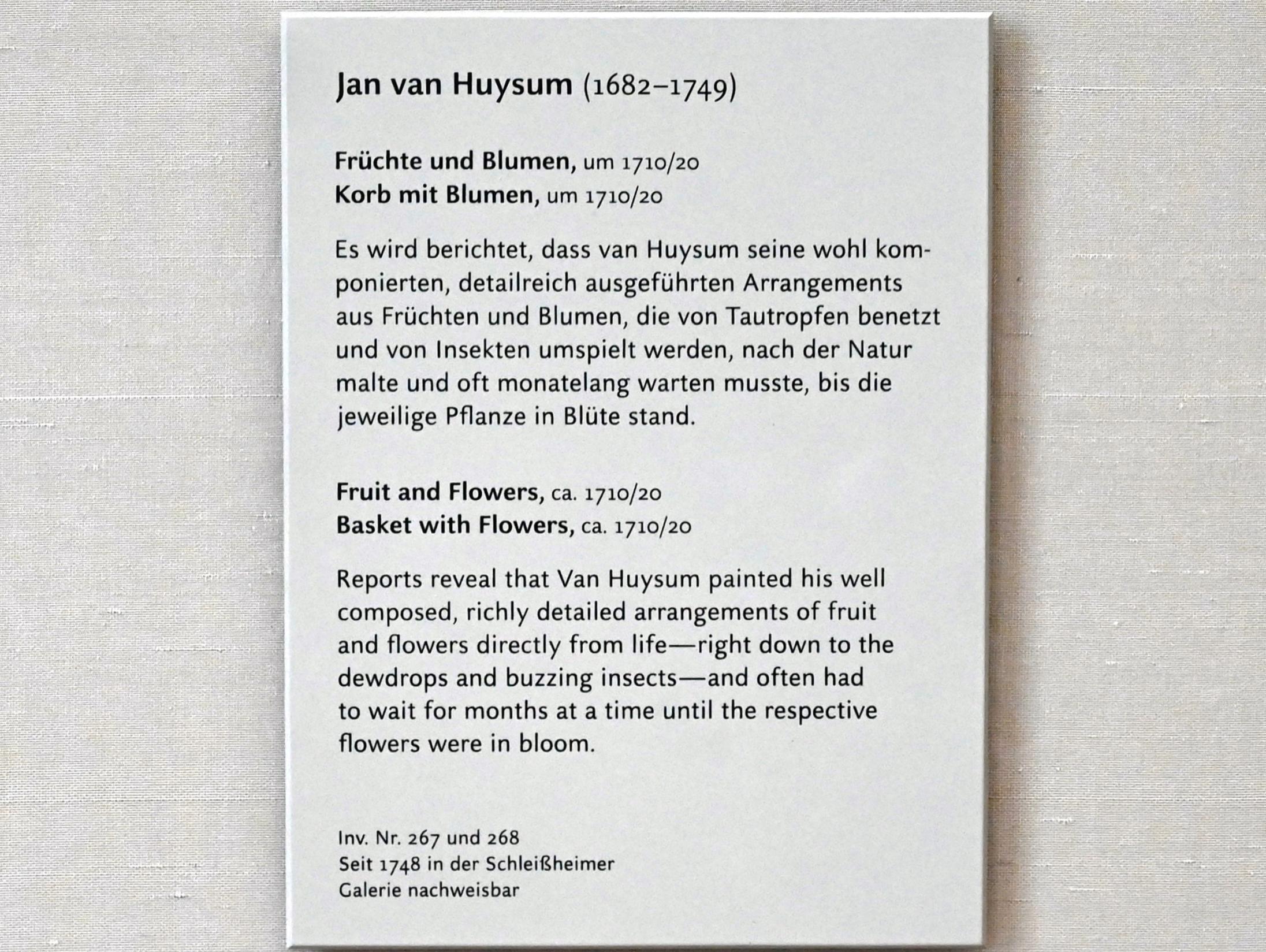 Jan van Huysum: Korb mit Blumen, Um 1710 - 1720