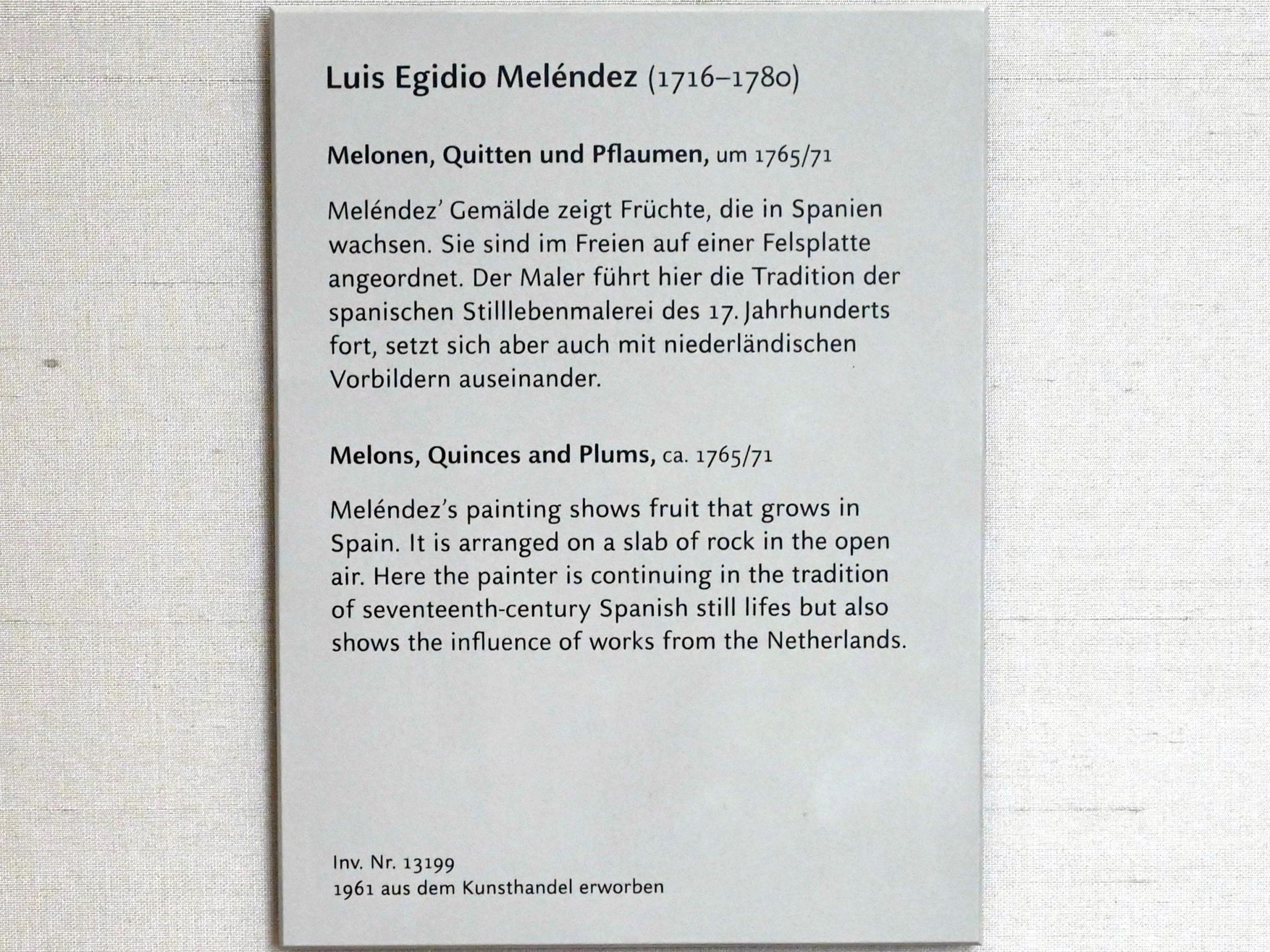 Luis Eugenio Meléndez: Melonen, Quitten und Pflaumen, um 1765 - 1770, Bild 2/2