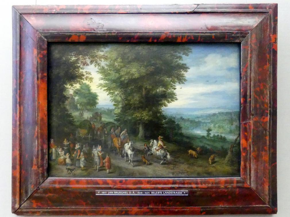 Jan Brueghel der Ältere (Blumenbrueghel): Belebte Landstraße, 1619