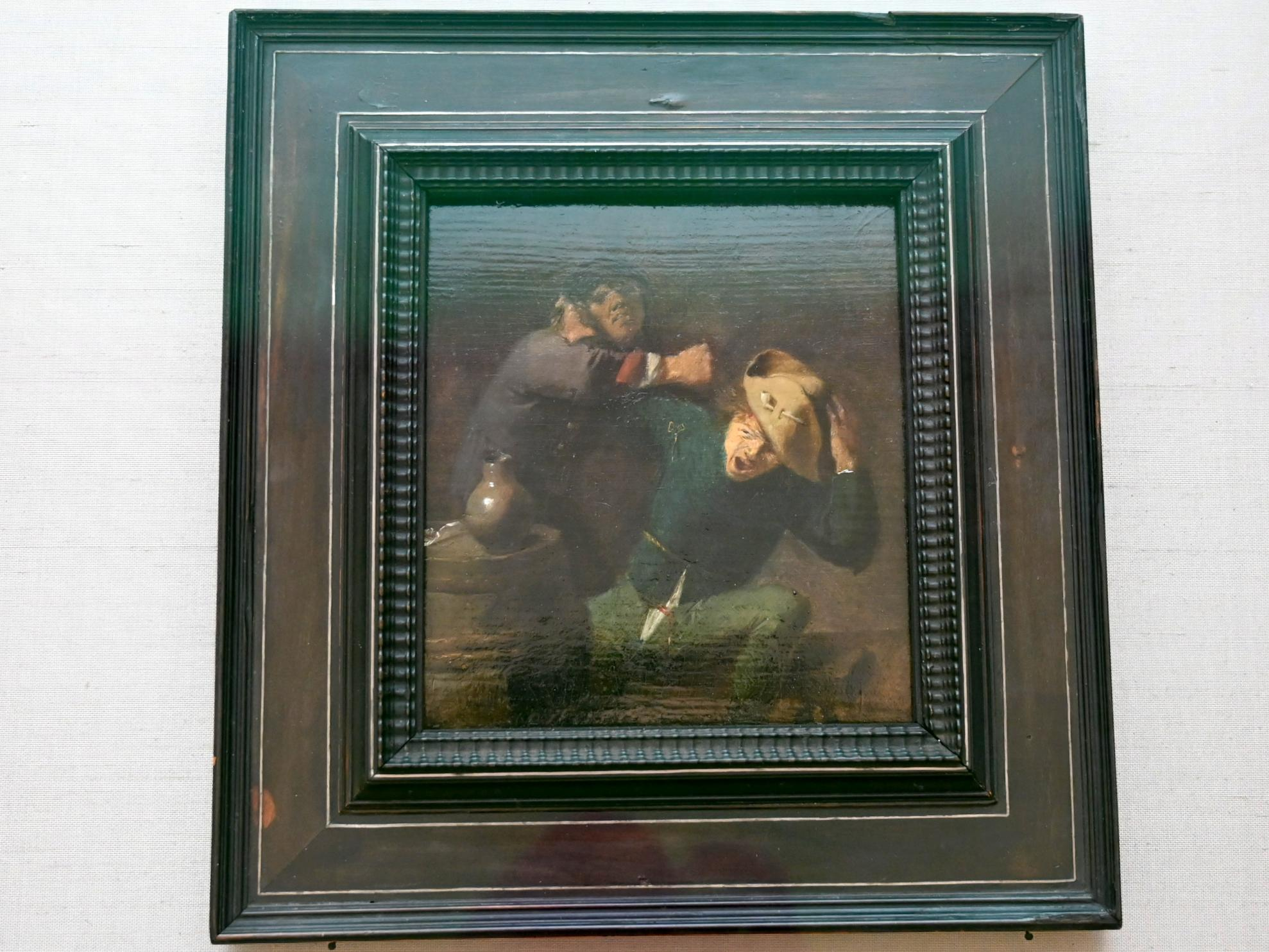 Adriaen Brouwer: Zwei raufende Bauern am Fass, Um 1633