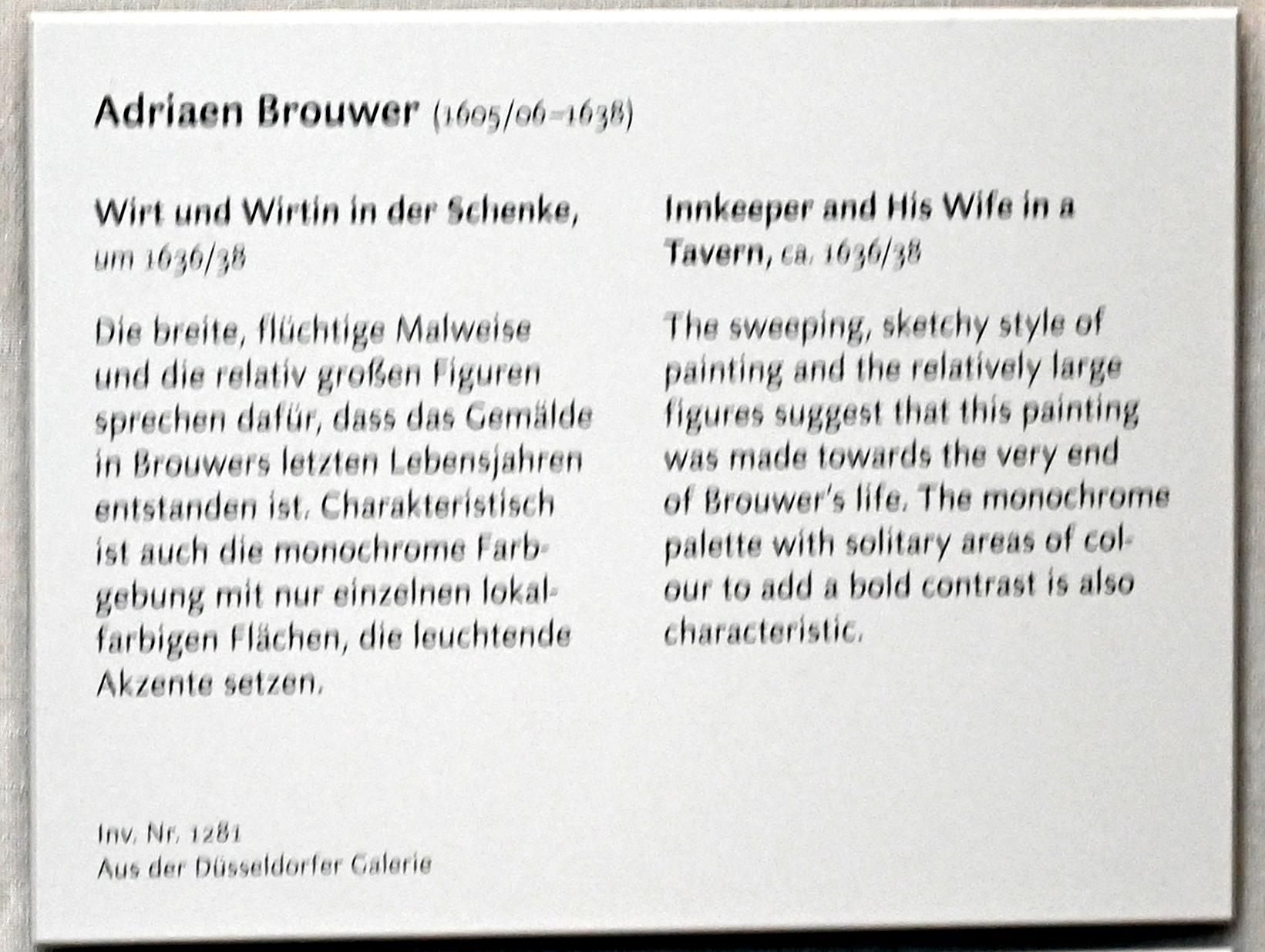 Adriaen Brouwer: Wirt und Wirtin in der Schenke, Um 1625 - 1638