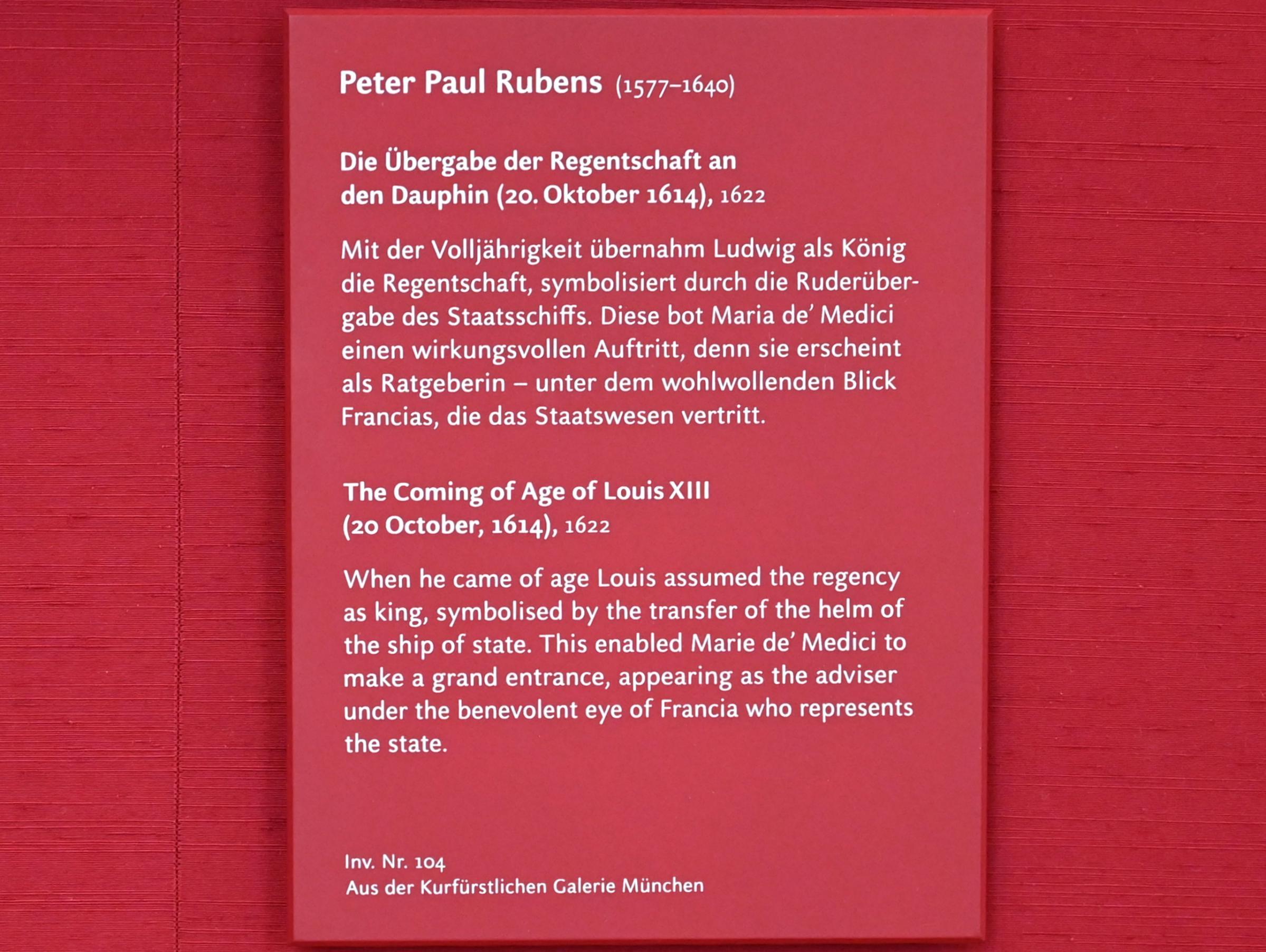 Peter Paul Rubens: Die Übergabe der Regentschaft an den Dauphin (Skizze zum Medici-Zyklus), 1622