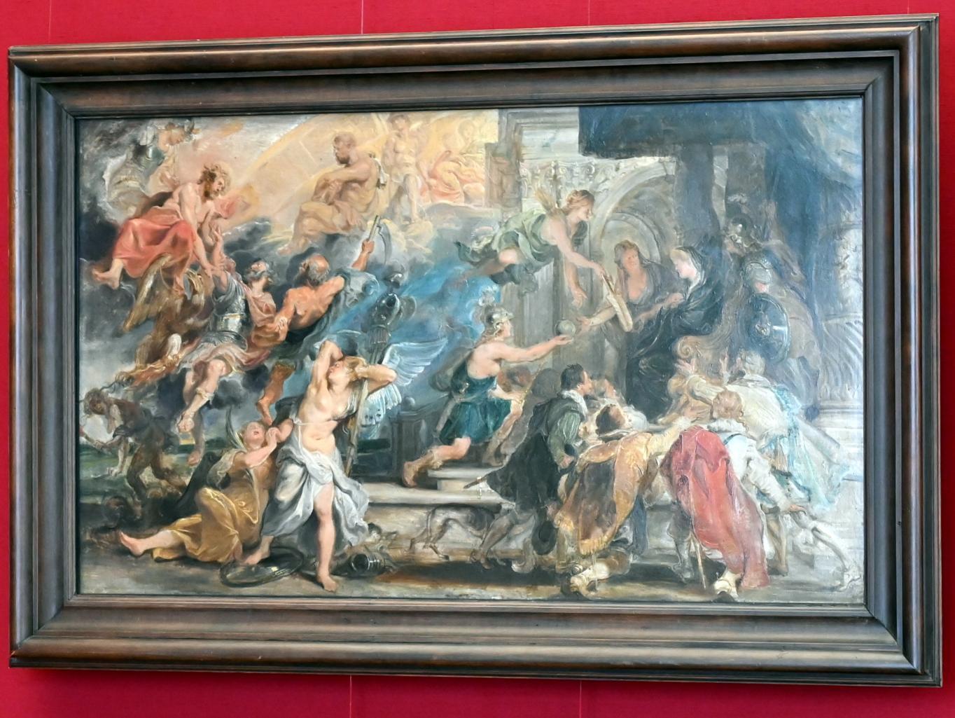 Peter Paul Rubens: Apotheose Heinrichs IV. und Proklamation der Regentschaft Maria de' Medicis (Skizze zum Medici-Zyklus), 1622