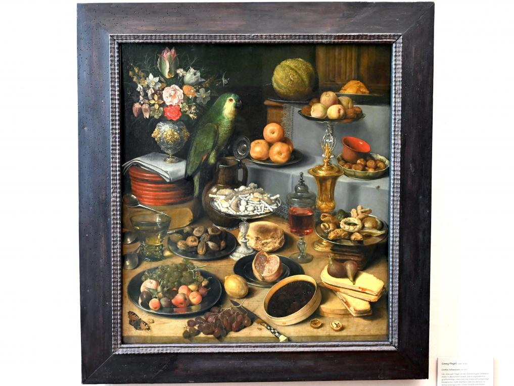 Georg Flegel: Großes Schauessen mit Papagei, um 1620