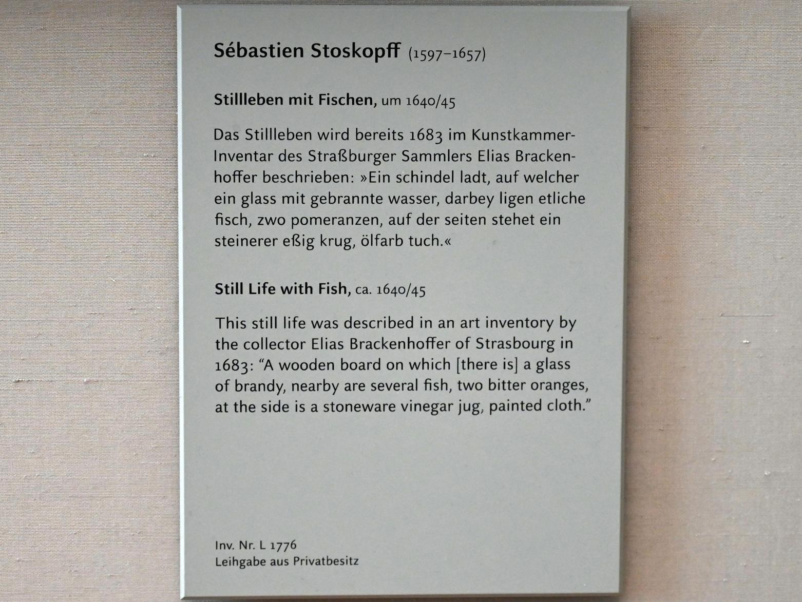 Sebastian Stoskopff: Stillleben mit Fischen, um 1640 - 1645, Bild 2/2