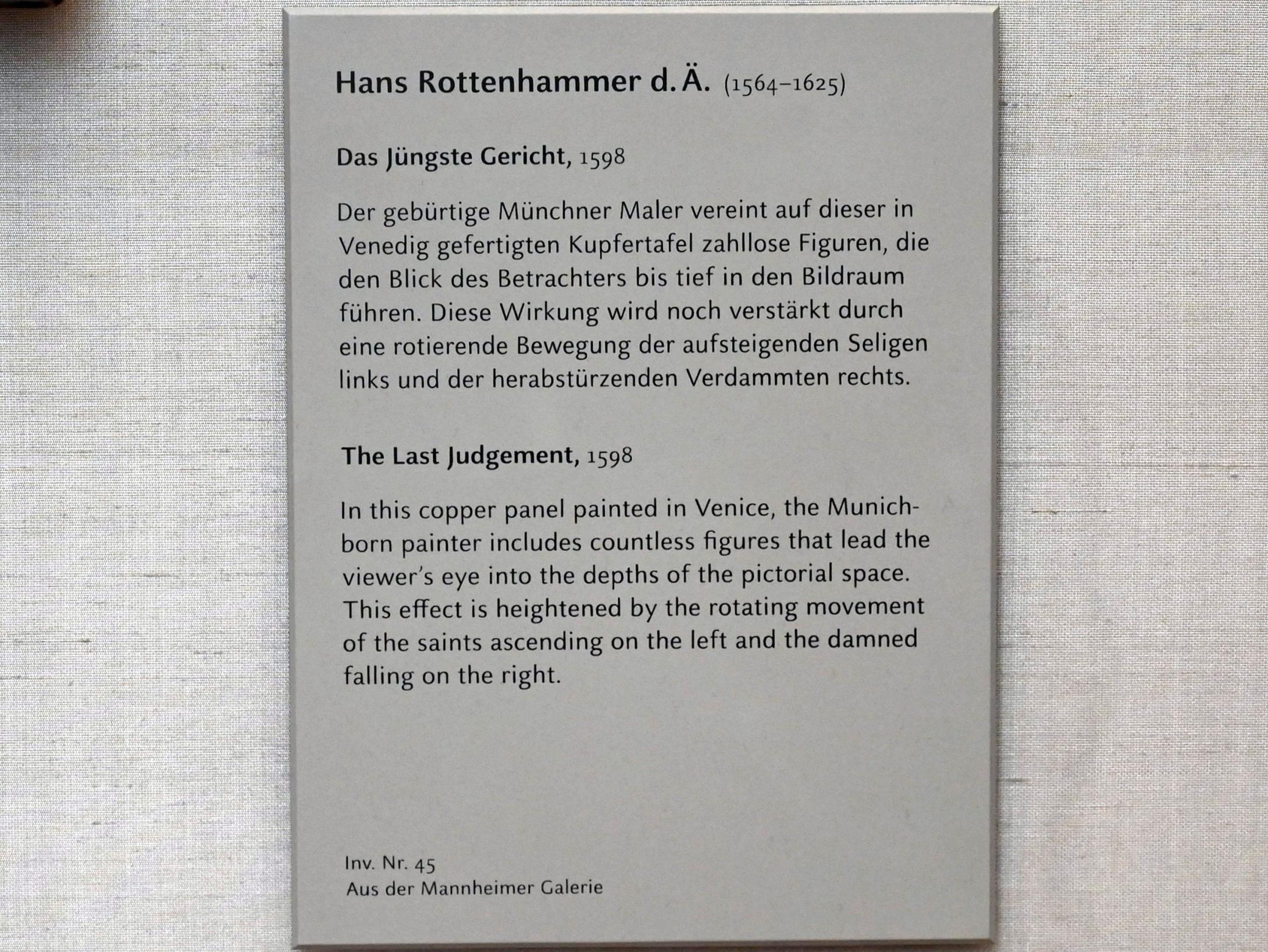 Johannes Rottenhammer der Ältere: Das Jüngste Gericht, 1598
