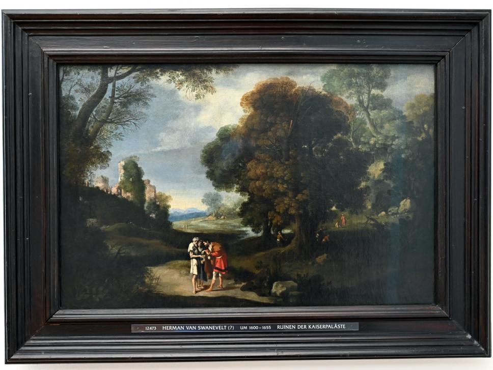 Herman van Swanevelt: Landschaft mit Bettlern und römischen Ruinen, Undatiert