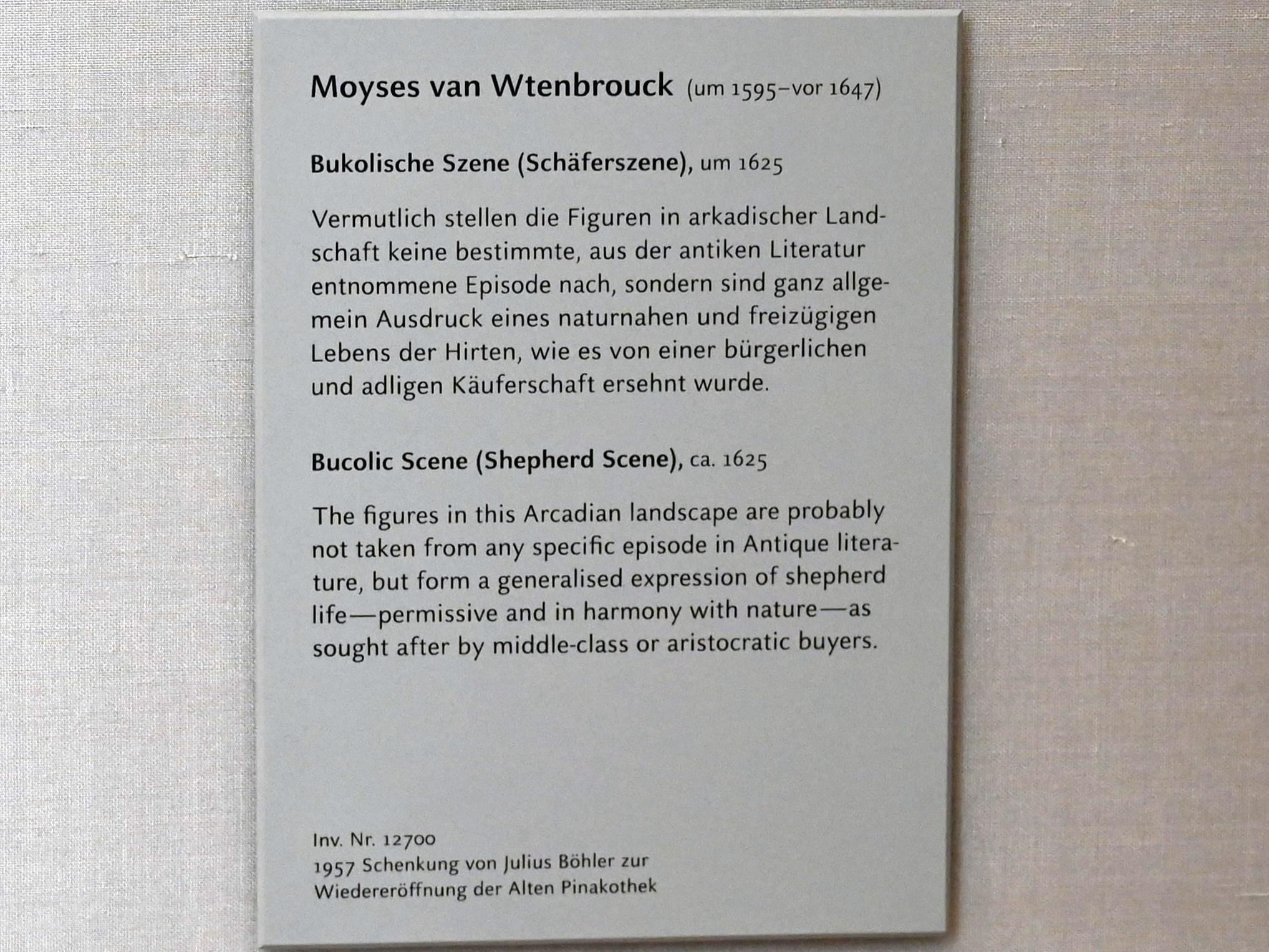 Moyses van Wtenbrouck: Bukolische Szene (Schäferszene), Undatiert, Bild 2/2