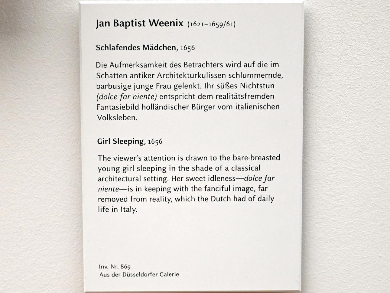 Jan Baptist Weenix: Schlafendes Mädchen, 1656