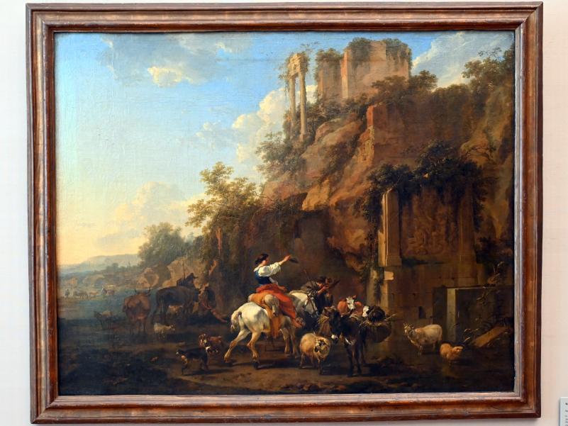 Nicolaes Berchem: Felslandschaft mit antiken Ruinen, Um 1657