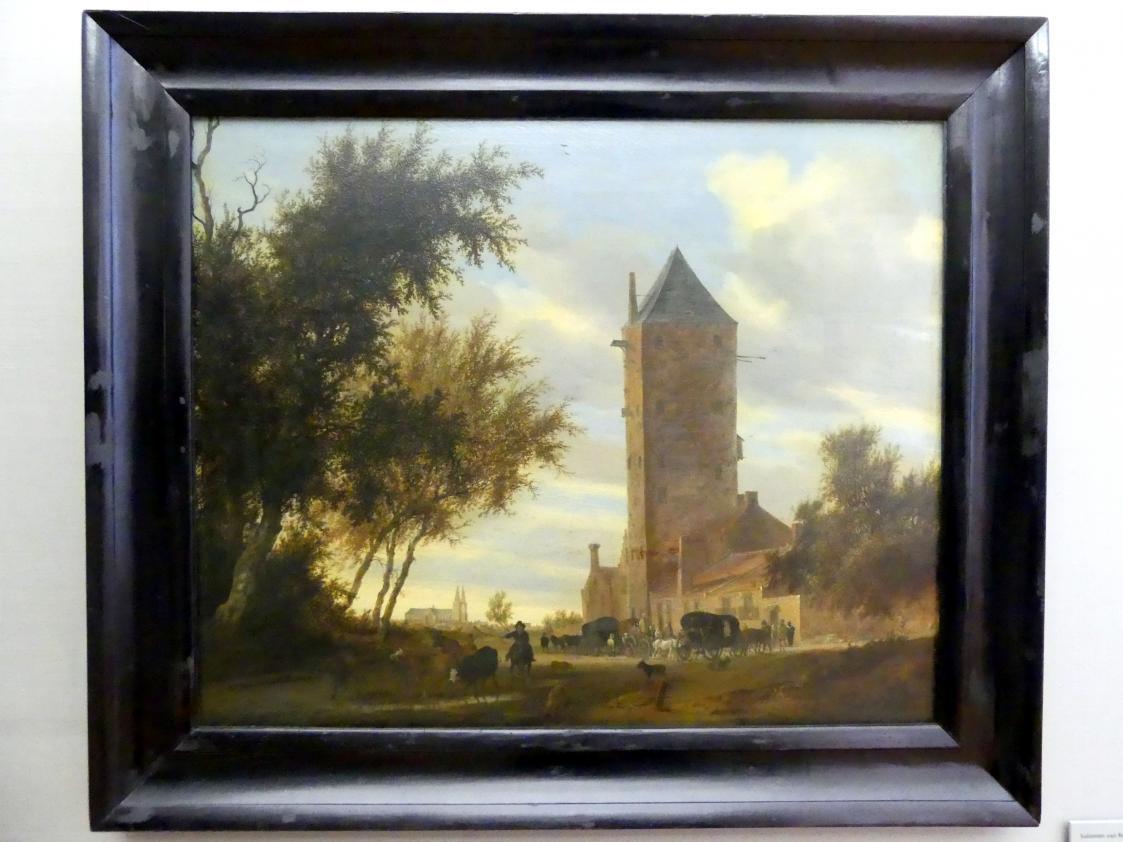 """Salomon van Ruysdael: Landschaft mit dem Utrechter """"Plompetoren"""", Um 1660"""