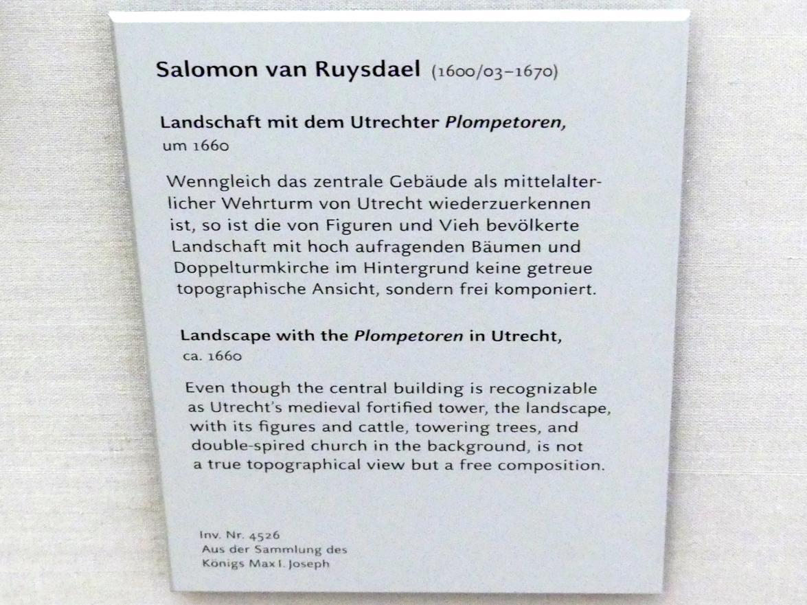 """Salomon van Ruysdael: Landschaft mit dem Utrechter """"Plompetoren"""", um 1660, Bild 2/2"""