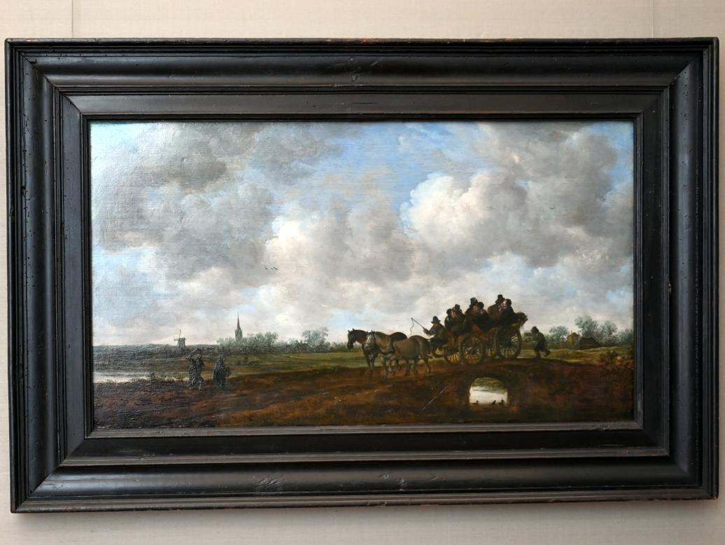 Jan van Goyen: Landschaft mit Pferdewagen auf einer Brücke, 1648