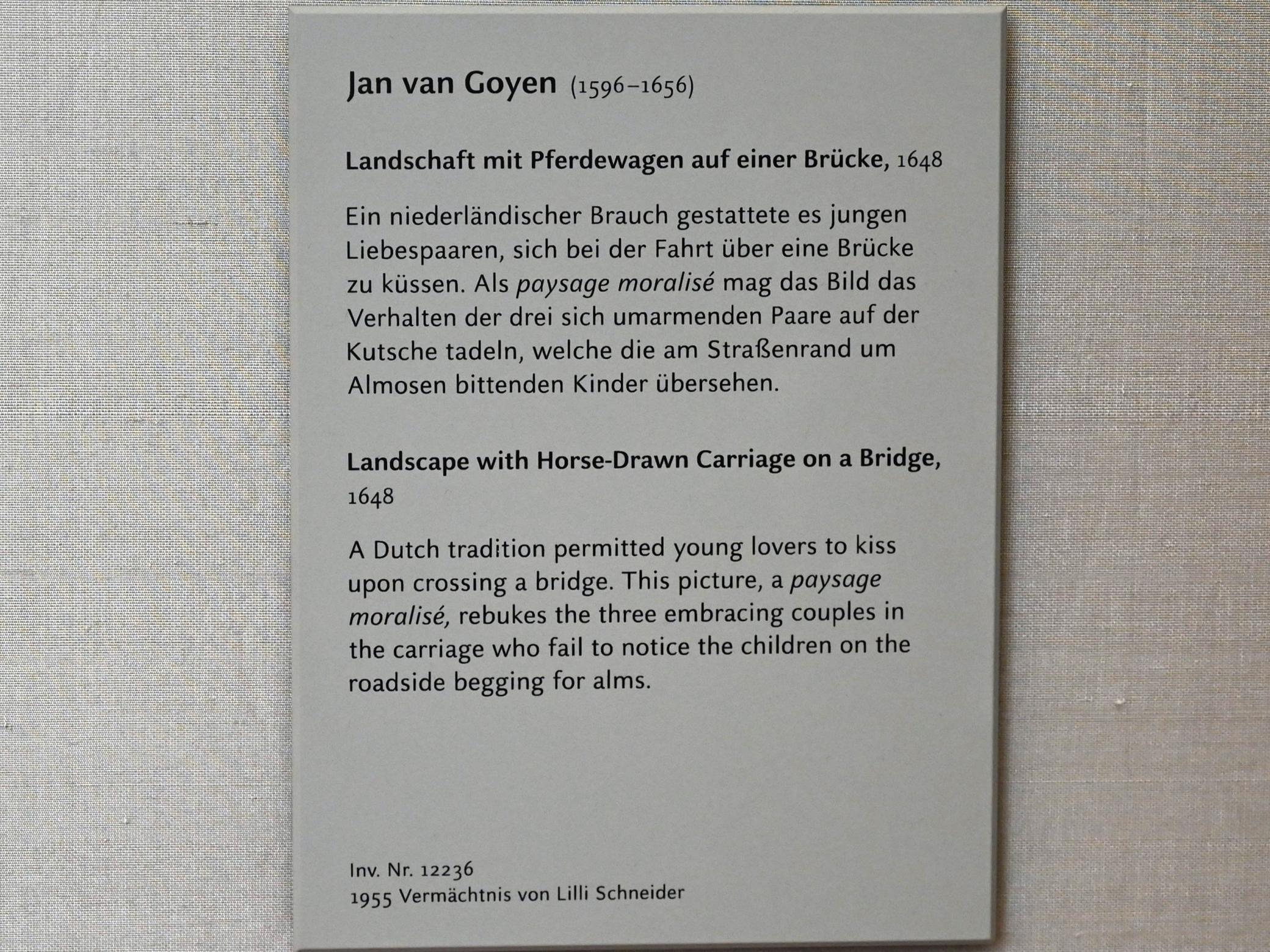 Jan van Goyen: Landschaft mit Pferdewagen auf einer Brücke, 1648, Bild 2/2