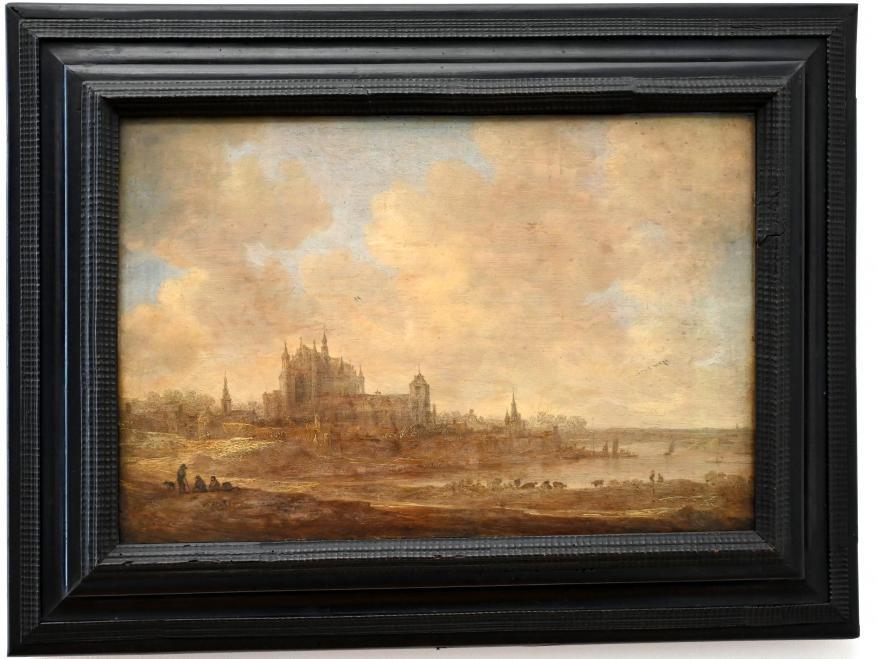 Jan van Goyen: Flusslandschaft mit der Leidener Hooglandse Kerk, 1643