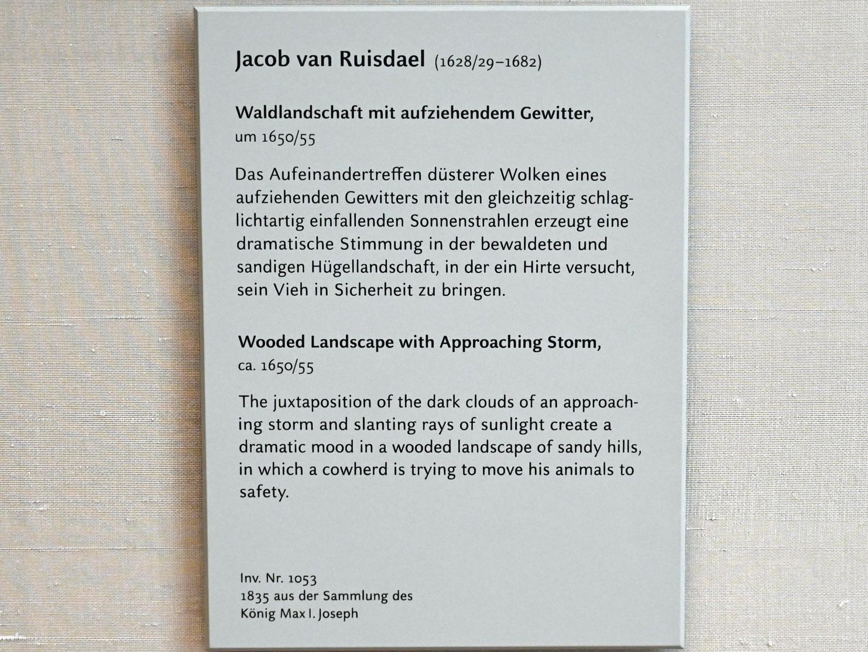Jacob van Ruisdael: Waldlandschaft mit aufsteigendem Gewitter, Um 1650 - 1655