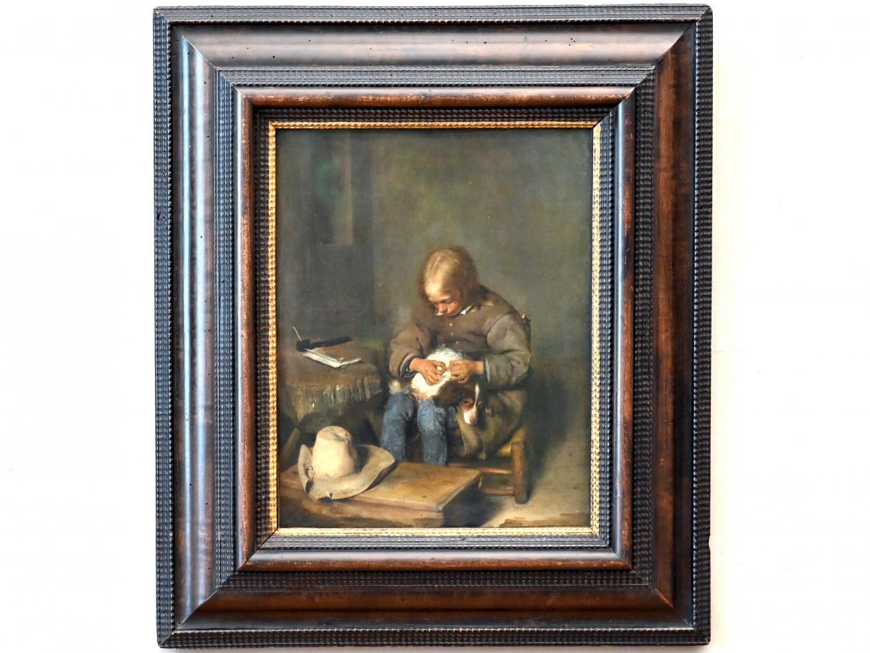 Gerard ter Borch: Ein Knabe floht seinen Hund, Um 1655