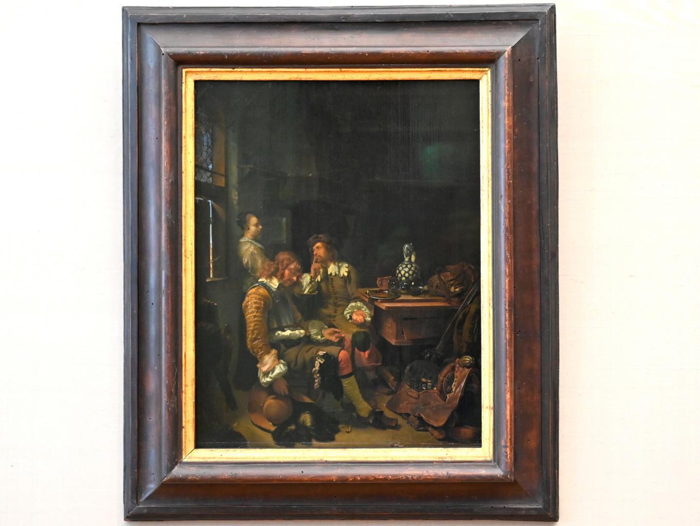 Frans van Mieris der Ältere: Der schlafende Offizier im Gasthaus, Um 1666
