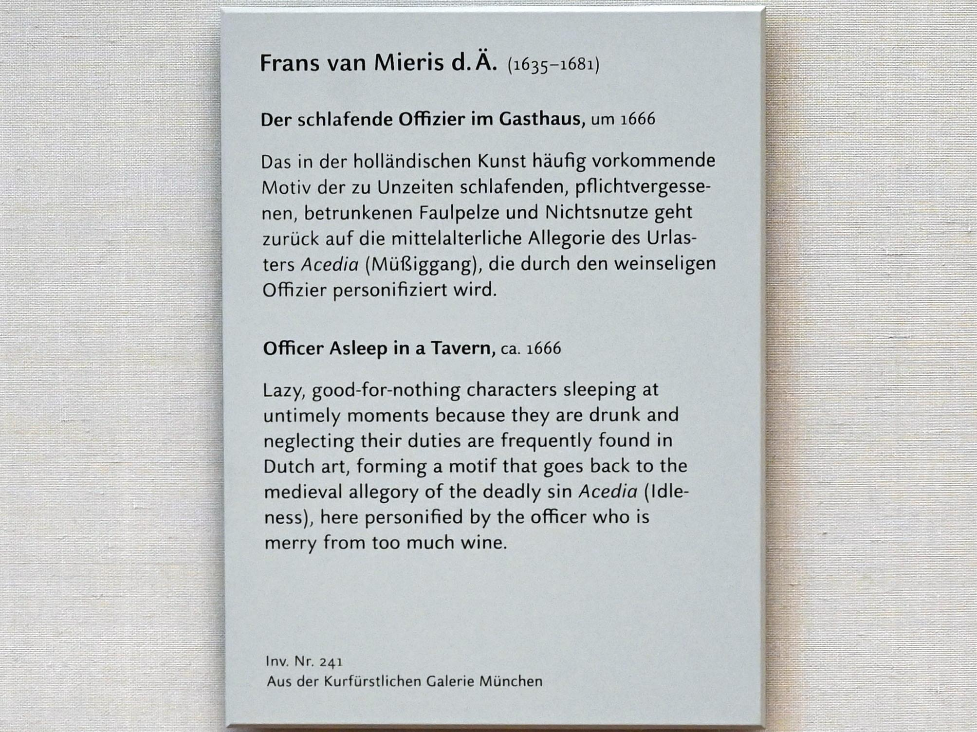 Frans van Mieris der Ältere: Der schlafende Offizier im Gasthaus, um 1666, Bild 2/2