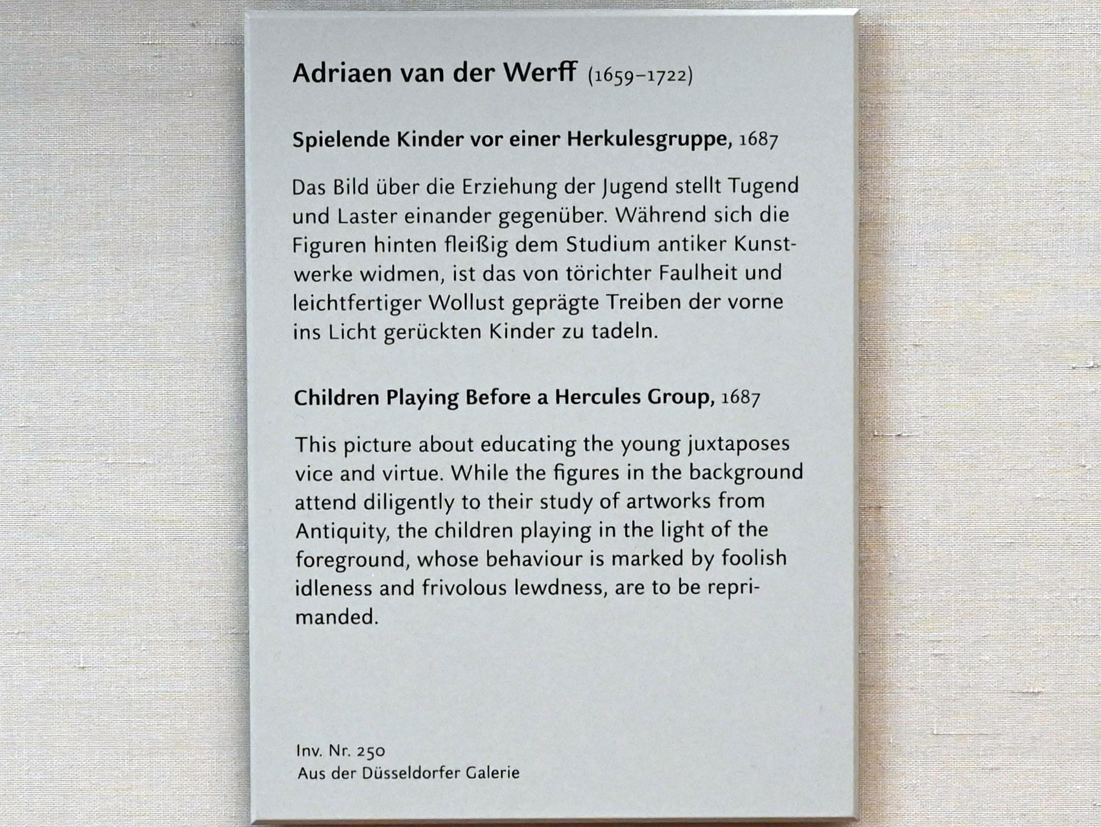 Adriaen van der Werff: Spielende Kinder vor einer Herkulesgruppe, 1687