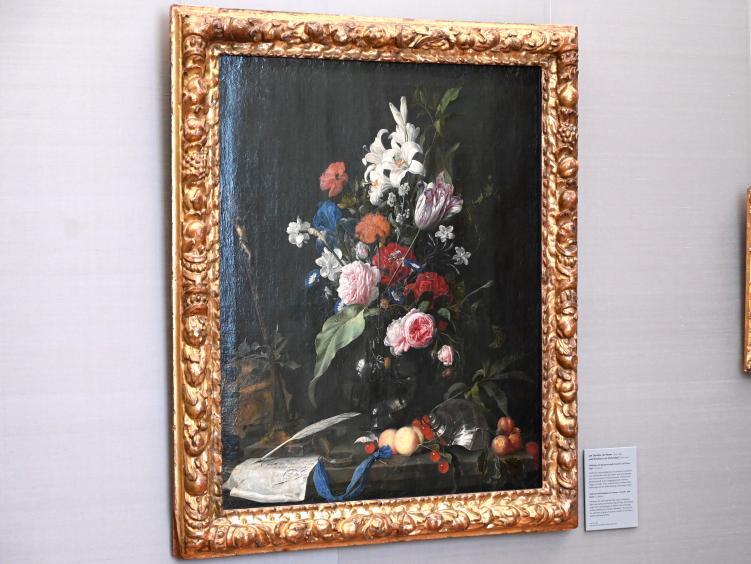 Jan Davidsz. de Heem: Blumenstillleben mit Totenkopf und Kruzifix, Um 1645