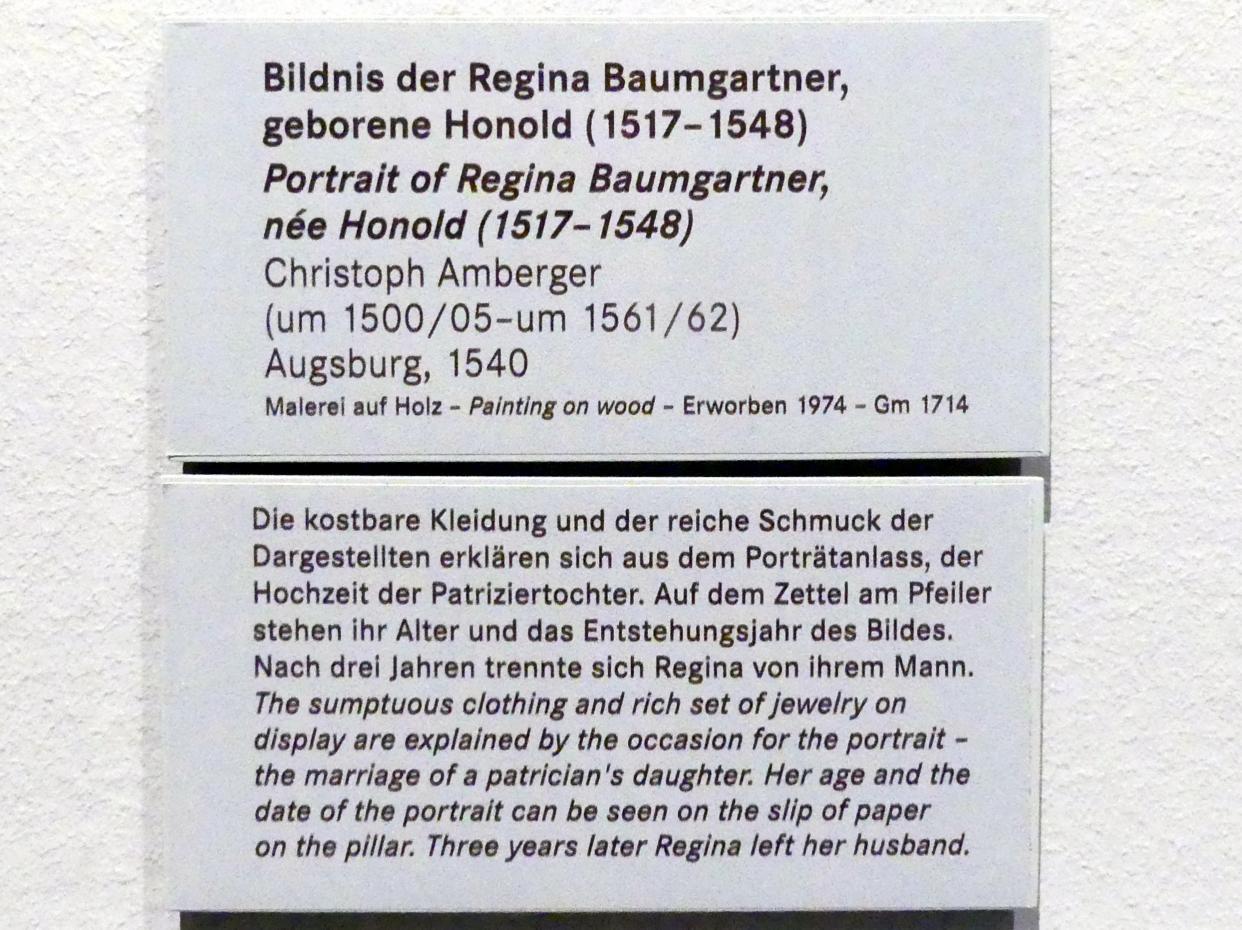 Christoph Amberger: Bildnis der Regina Baumgartner, geborene Honold (1517-1548), 1540, Bild 2/2