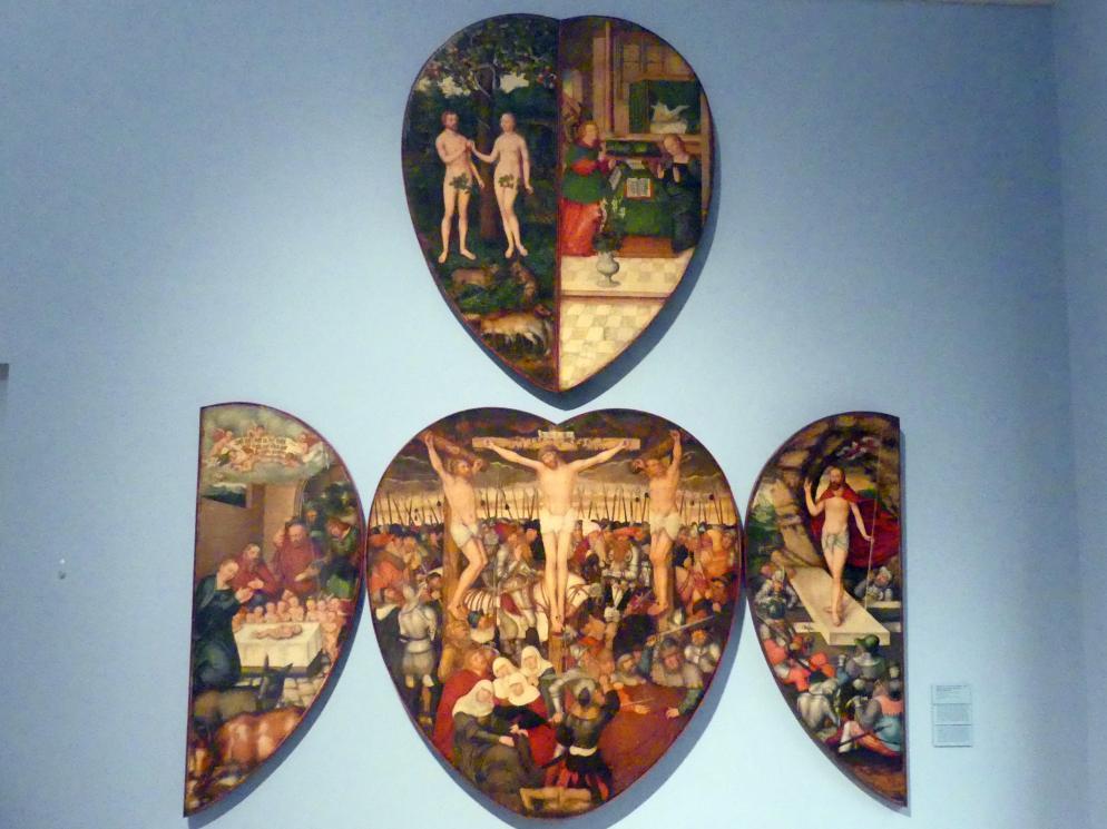 Lucas Cranach der Jüngere: Flügelaltar in Herzform (Colditzer Altar), 1584