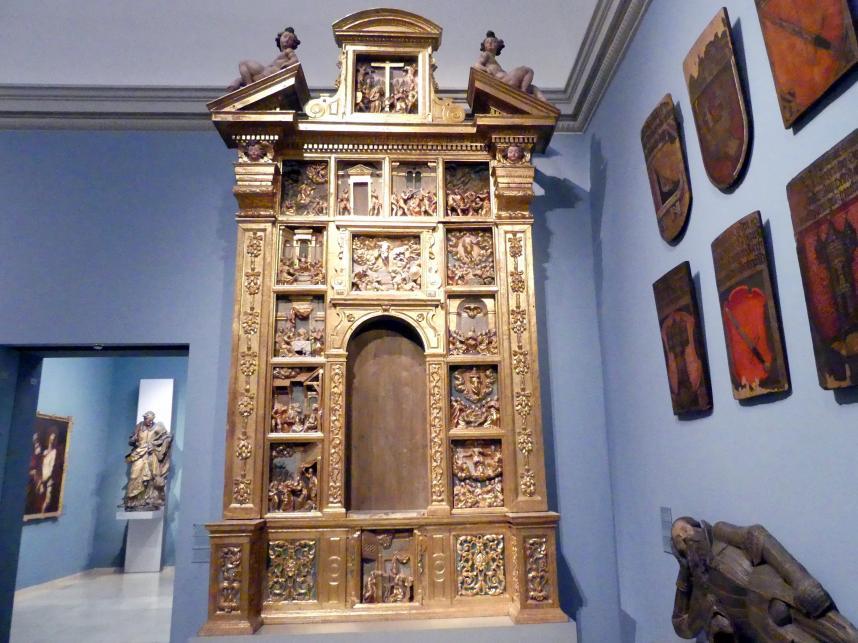 Giandomenico (Werkstatt): Rosenkranzretabel (Altaraufsatz aus Holz), Um 1650 - 1660