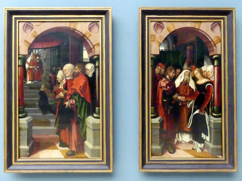 Hans Fries: Zwei Tafel eines Marienaltars: Tempelgang und Vermählung Marias, 1512