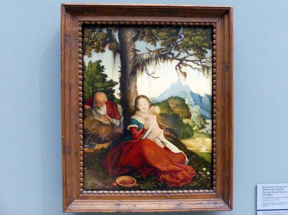 Hans Baldung Grien: Ruhe auf der Flucht der heiligen Familie nach Ägypten, Um 1515