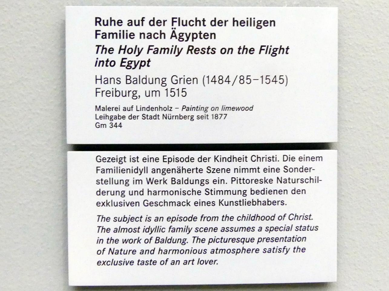 Hans Baldung Grien: Ruhe auf der Flucht der heiligen Familie nach Ägypten, um 1515, Bild 2/2