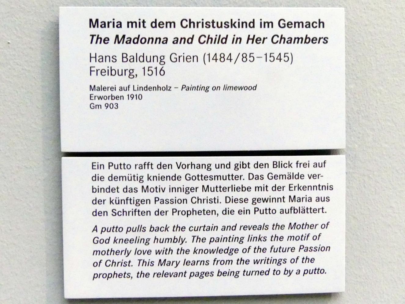 Hans Baldung Grien: Maria mit dem Christuskind im Gemach, 1516, Bild 2/2