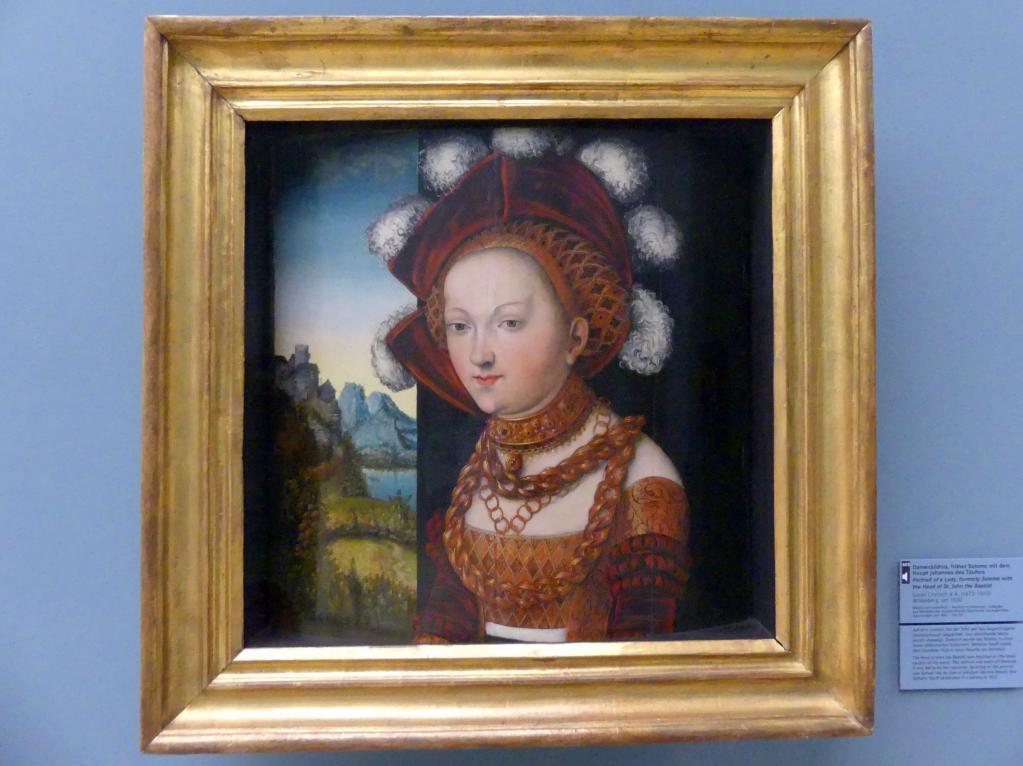 Lucas Cranach der Ältere: Damenbildnis, früher Salome mit dem Haupt Johannes des Täufers, um 1530
